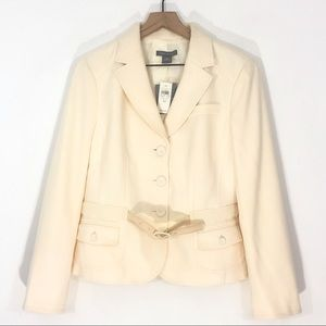 Ann Taylor Cream Wool Fitted Blazer With Belt NWT